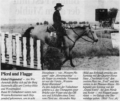 Alexandra Schürmann mit Checkmate Gold auf einem WRR-Tunier (1994)